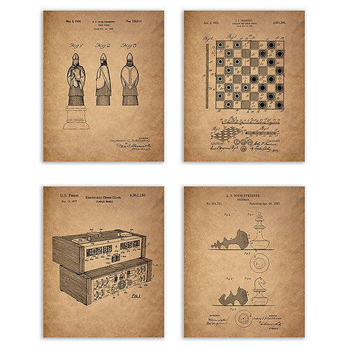Chess Patent Prints - Set of Four 8x10 Photos Vintage Wall Art Decor - Chess Lov
