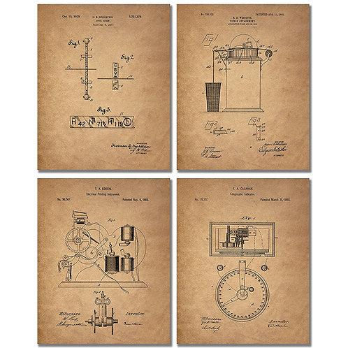 Stockbroker Patent Prints - Set of Four 8 x 10 Photos Banker Vintage Wall Decor