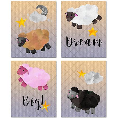 Nursery Sheep Decor Prints - Set of Four 8x10 Watercolor Original Wall Art Photo
