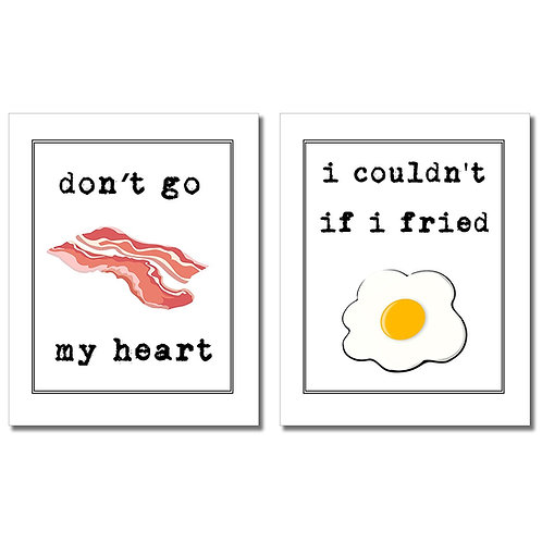 Dont Go Bacon My Heart Wall Art Prints - Set of two 8x10 Kitchen Photos