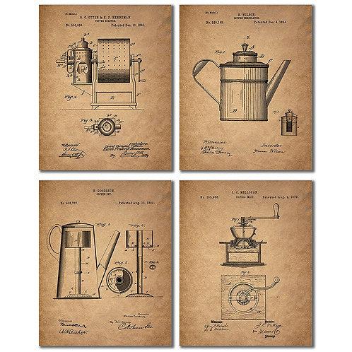Coffee Patent Prints - Set of Four Coffee Bar Unique Kitchen Decor Wall Art Phot