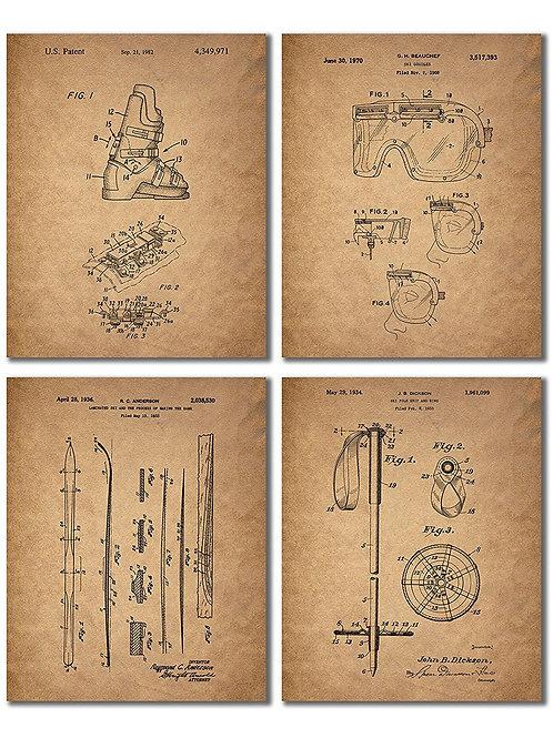 Ski Patent Prints - Set of Four 8x10 Vintage Wall Art Decor Photos