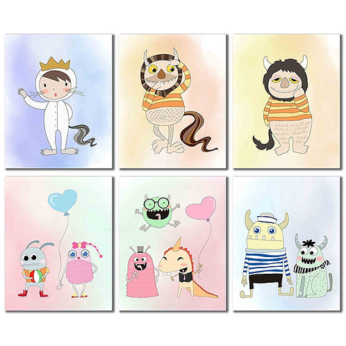 Where the Wild Things Are Prints - Set of Six Kids Wall Art Decor 8x10 Photos