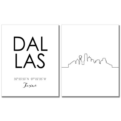 Dallas Texas Skyline Wall Art Prints Set of Two 8x10 Photos - City Coordinates T
