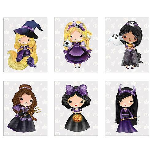 Halloween Princess Prints Set of Six 8x10 Scary Spooky Art Photos - Mulan - Bell