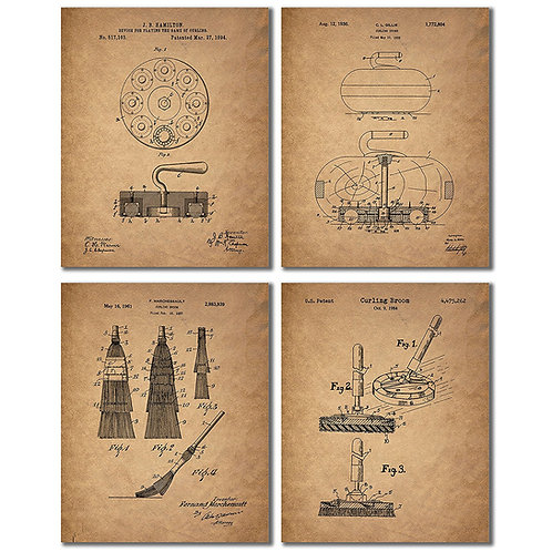 Curling Patent Prints - Set of Four Vintage Decor Wall Art Photos - Bonspiel Sto