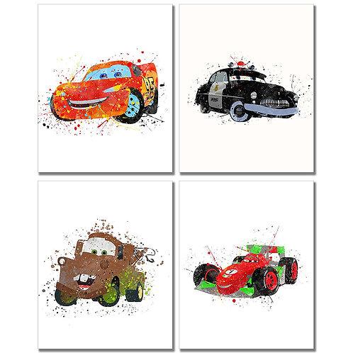 Cars Watercolor Prints - Set of Four 8x10 Wall Art Decor Kids Bedroom Photos Lig