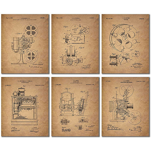 Home Theater Patent Wall Art Prints - Set of Six Vintage Movie Film Photos