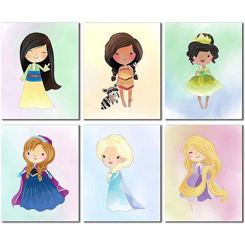 Disney Princess Kids Room Wall Decor - Mulan Anna Elsa Pocahontas Rapunzel Tiana