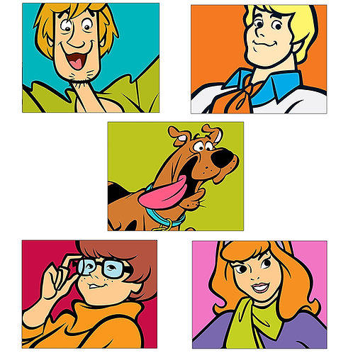 SCOOBY DOO Kids Wall Art Prints - Set of Five Adorable Glossy Photos - Scooby -