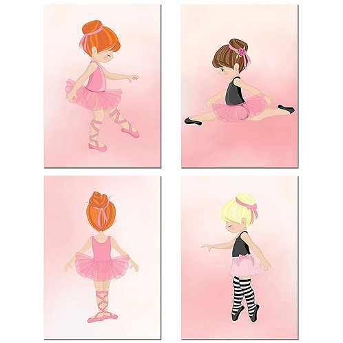 Little Ballerina Girl Prints - Set of 4 Baby Nursery Wall Art Decor Dance Photos