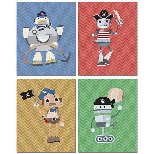 Pirate Robots Kids Wall Art Prints - Set of Four 8x10 Original Bedroom Photos