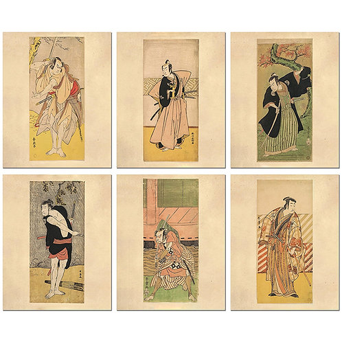 Samurai Woodblock Fine Art Prints - Set of Six