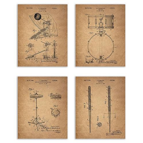 Drum Patent Prints - Set of Four 8x10 Photos Vintage Wall Art Decor