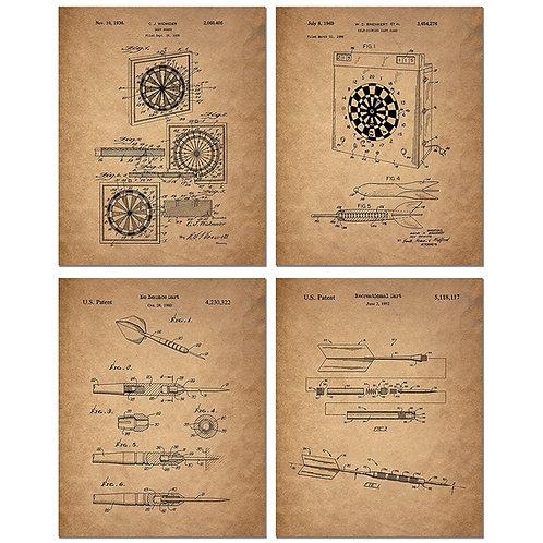 Darts Patent Art Prints - Set of Four 8 x 10 Photos - Vintage Decor