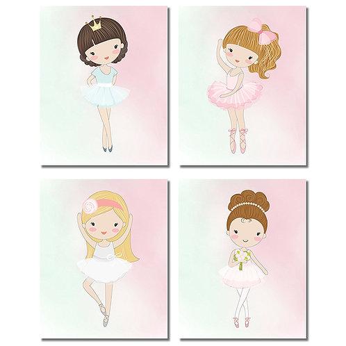 Cute Ballerina Dancer Girl Prints - Bedroom Playroom Wall Art Decor Prints - Set