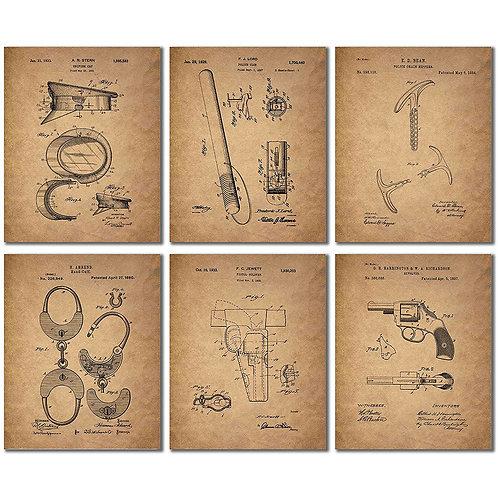 Beer Patent Wall Art Prints - Set of Six Vintage Bar Photos