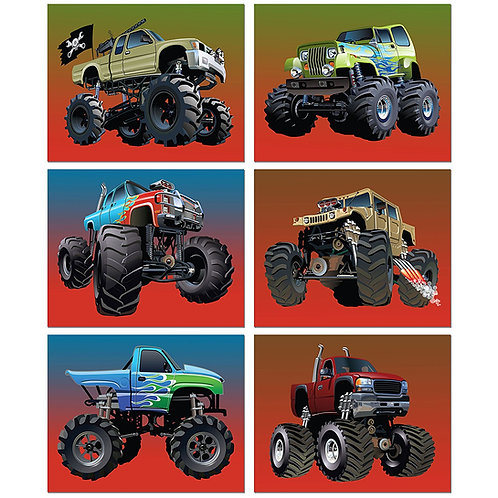 Monster Truck Poster Prints - Set of Six 8x10 Photos - Kids Wall Art Decor