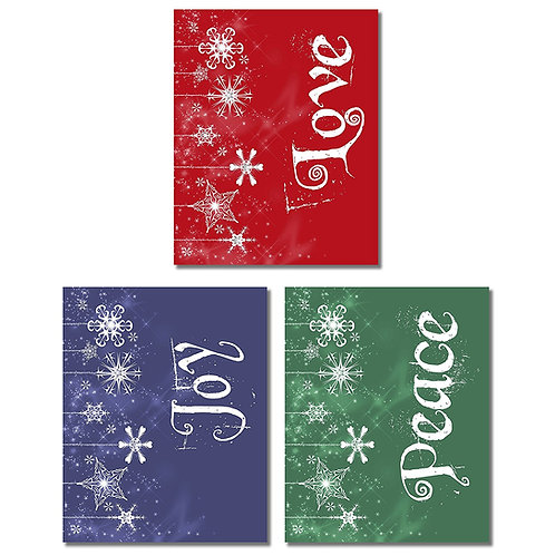 Peace Joy Love Wall Art Photos - Set of three 8x10 Prints - Christmas Holiday De