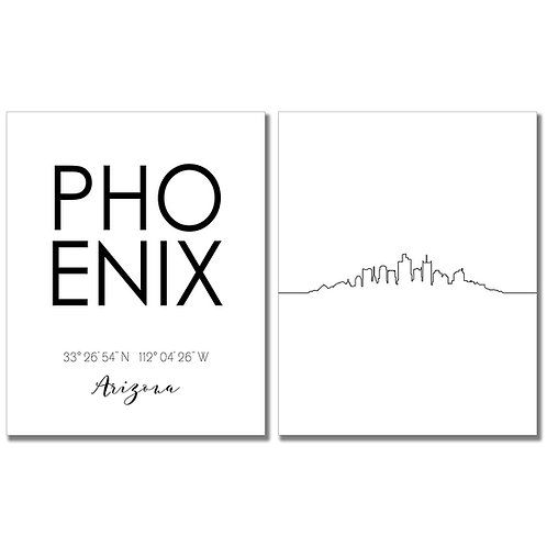 Phoenix Arizona Skyline Wall Art Prints Set of Two 8x10 Photos - City Coordinate