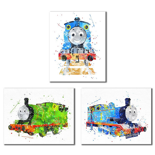 Thomas and Friends Watercolor Train Prints - Set of three 8x10 Wall Art Decor Ph