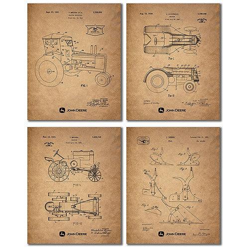 John Deere Patent Prints - Set of Four Vintage Tractor Plow Wall Art Decor Photo