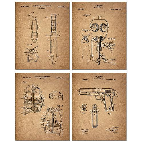 Survivalist Prepper Patent Prints - Set of Four 8 x 10 Photos