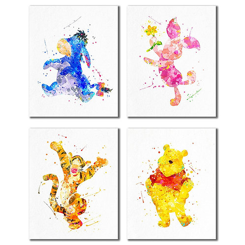 Winnie the Pooh Watercolor Prints - Nursery Wall Art Decor Prints - Set of Four