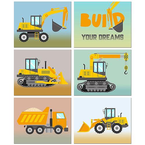 Construction Trucks Kids Room Wall Decor - Set of Six 8x10 Photos