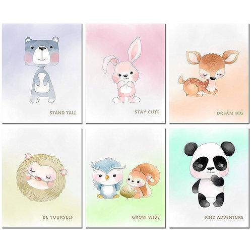 Cute Nursery Decor - Set of Six 8x10 Baby Room Animal Prints - Gender Neutral