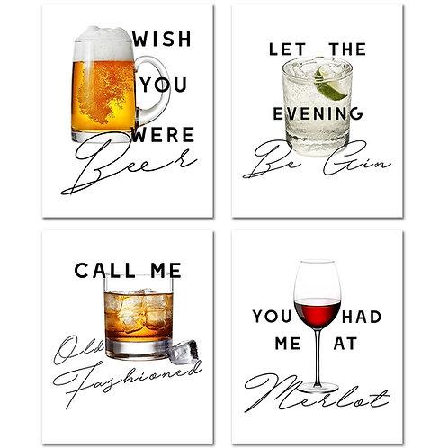 Bar Decor Prints - Set of Four 8x10 Cocktail Drinks Man Cave Photos