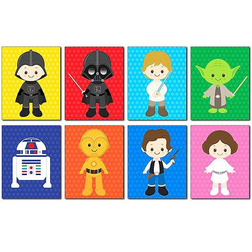 Star Wars Kids Art Prints - Set of 8 - 8x10 Adorable Photos - Kids Room or Nurse