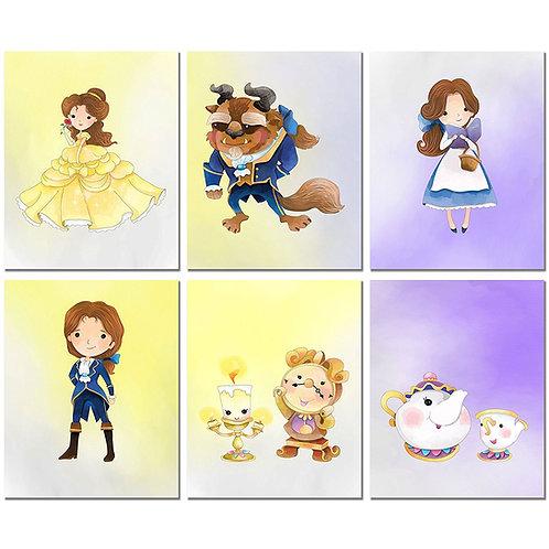 Beauty and the Beast Prints - Set of Six Original Watercolor Kids Bedroom Nurser