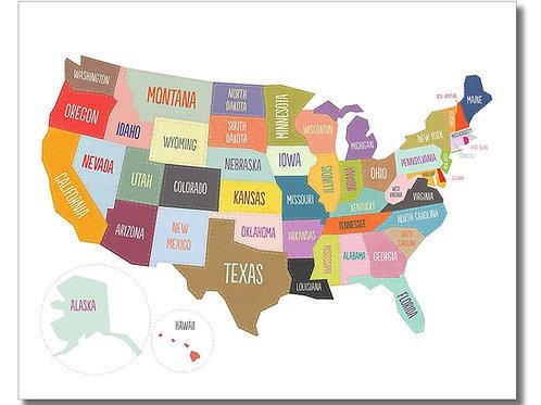 Map of USA Wall Art Print 8x10 Glossy Photo - US American States