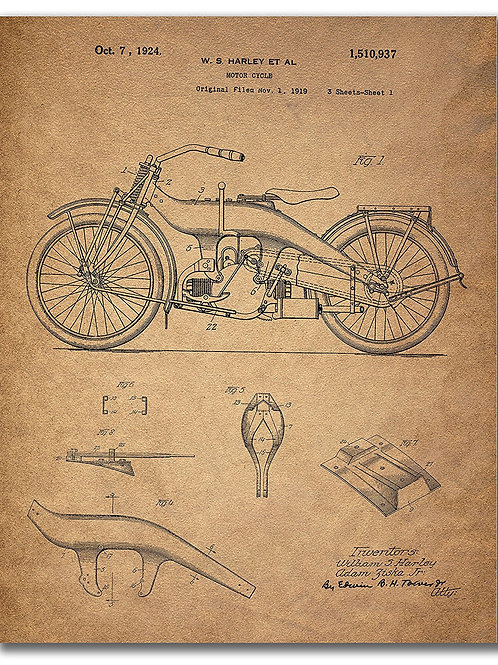 Harley Davidson Patent prints (8x10 - Single Print)