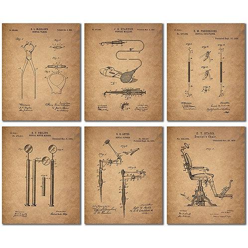 Dentist Patent Wall Art Prints - Set of Six Vintage Replica Photos