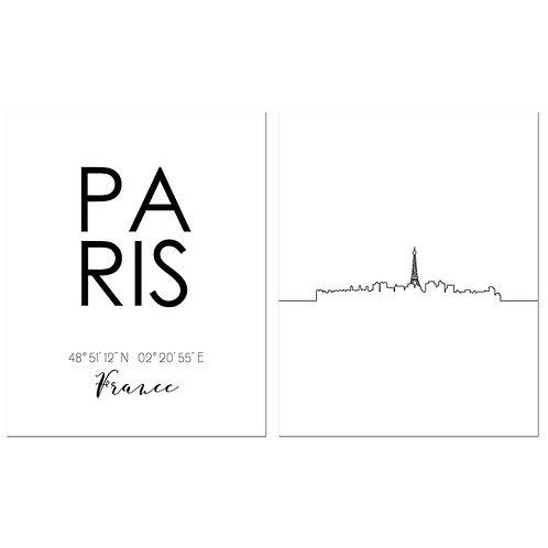 Paris France Skyline Wall Art Prints Set of Two 8x10 Photos - City Coordinates T