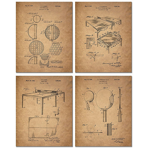 Table Tennis Patent Prints - Set of Four 8x10 Vintage Ping Pong Wall Art Decor P
