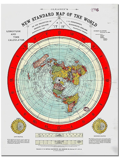 Flat Earth Map - Gleason's New Standard Map Of The World Wall Art Poster Print G
