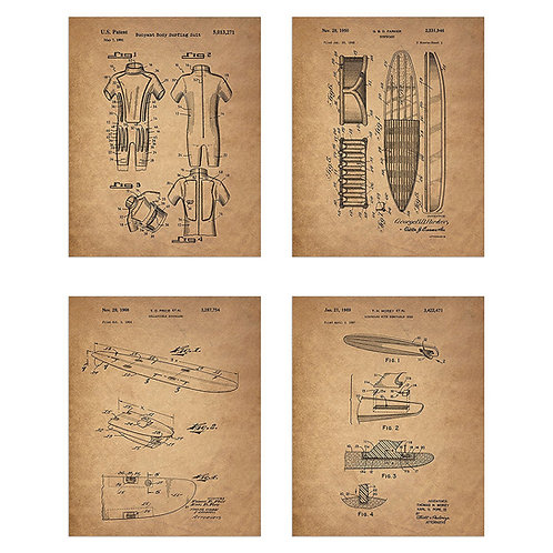 Surfing Patent Prints - Set of Four 8x10 Photos Wall Decor - Surfboard Body Suit
