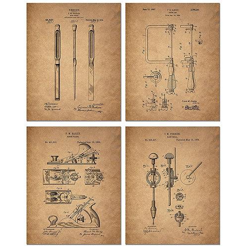 Woodworking Patent Prints - Set of Four 8 x 10 Photos - Wood Carving Vintage Dec