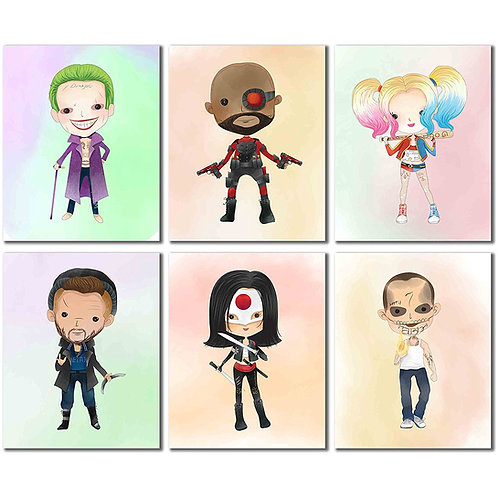 Suicide Squad Character Prints - Set of Six 8x10 Photos - Harley Quinn Joker Dea
