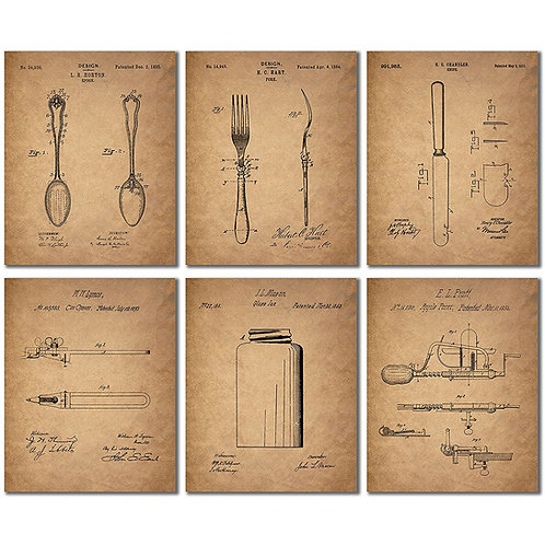 Kitchen Vintage Patent Wall Art Prints - Set of Six Photos