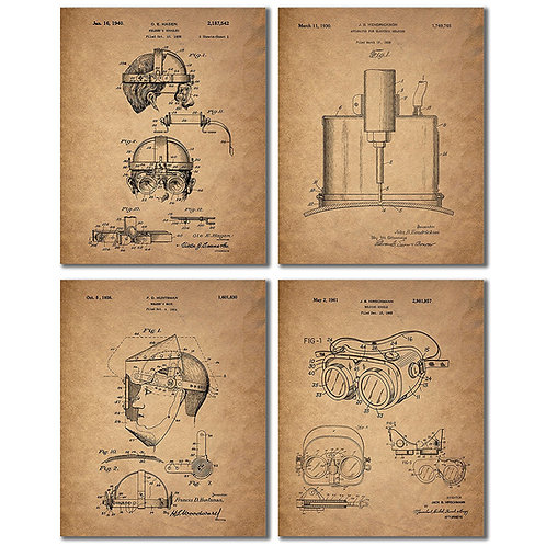 Welder Patent Prints - Set of Four Vintage Wall Art Photos