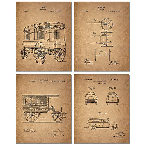 Ambulance Patent Art Prints - Set of Four Photos - Great Gift for EMT Paramedic