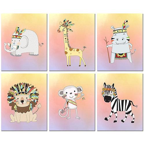 Tribal Zoo Animals Nursery Art - Set of 6 - Original Baby Room Prints Gender Neu