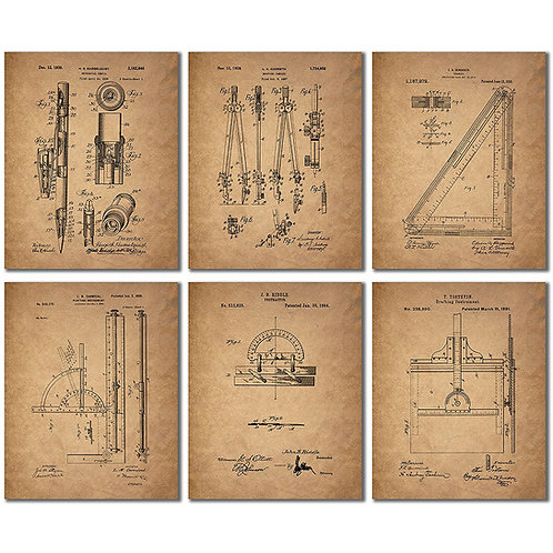 Architect Drafting Patent Prints - Set of Six 8x10 Drafting Wall Art Decor Photo