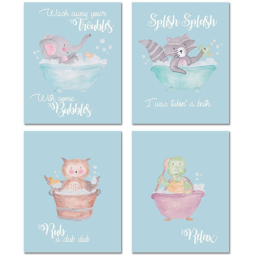 Animal Bathroom Decor Prints - Set of Four 8x10 Watercolor Original Cute MATTE P