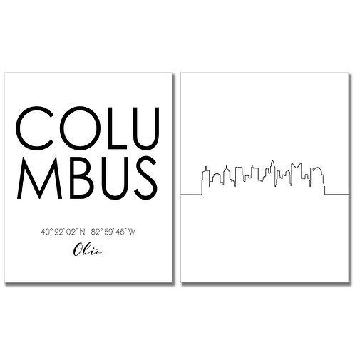 Columbus Skyline Wall Art Prints Set of Two 8x10 Photos - Ohio City Coordinates