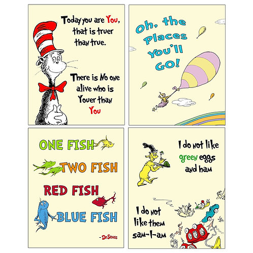 Dr Seuss Kids Photo Prints WallArt - Adorable Wall Decor for Bedrooms Nursery Pl